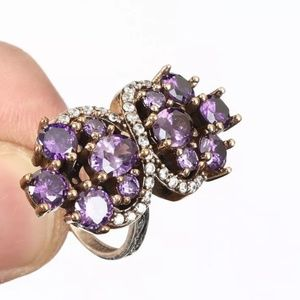 Gorgeous Amethyst & sapphire cocktail ring 7.75